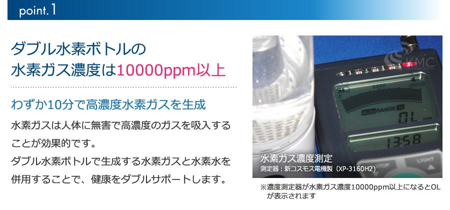 水素ガス濃度10000ppm以上(即生成10分吸入の連続使用可能)