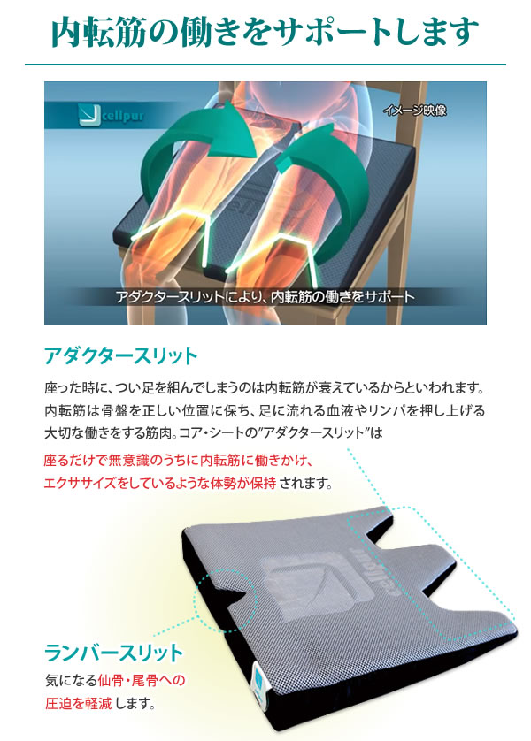 アダクタースリット:内転筋の働きをサポート ランバースリット:仙骨・尾骨への圧迫を軽減
