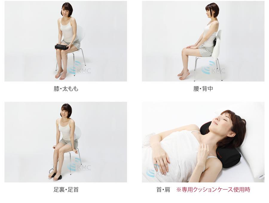 膝・太もも・腰・背中・足裏・足首・首・肩