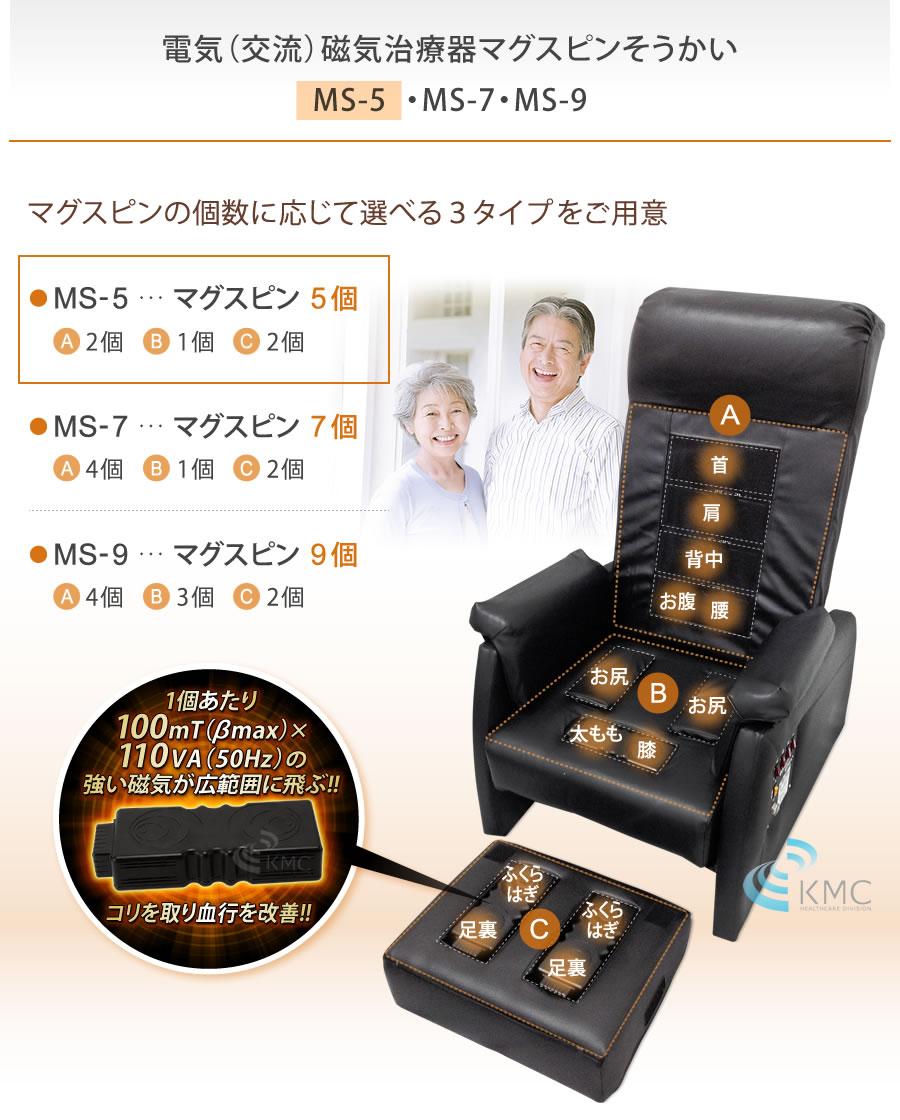 電気(交流)磁気治療器 マグスピンそうかいMS-5(チェア型)