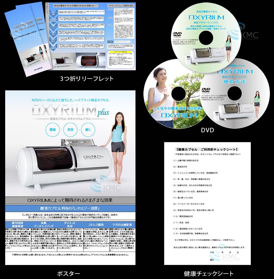 3つ折りリーフレット、DVD、ポスター、健康チェックシート