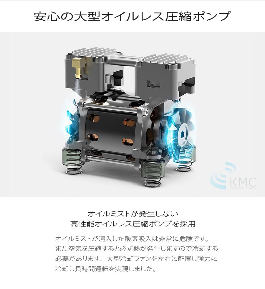 安心の大型オイルレス圧縮ポンプ