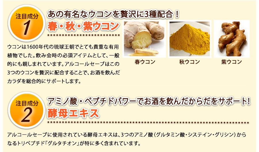 注目成分1 ウコンを贅沢に3種配合、酵母エキス