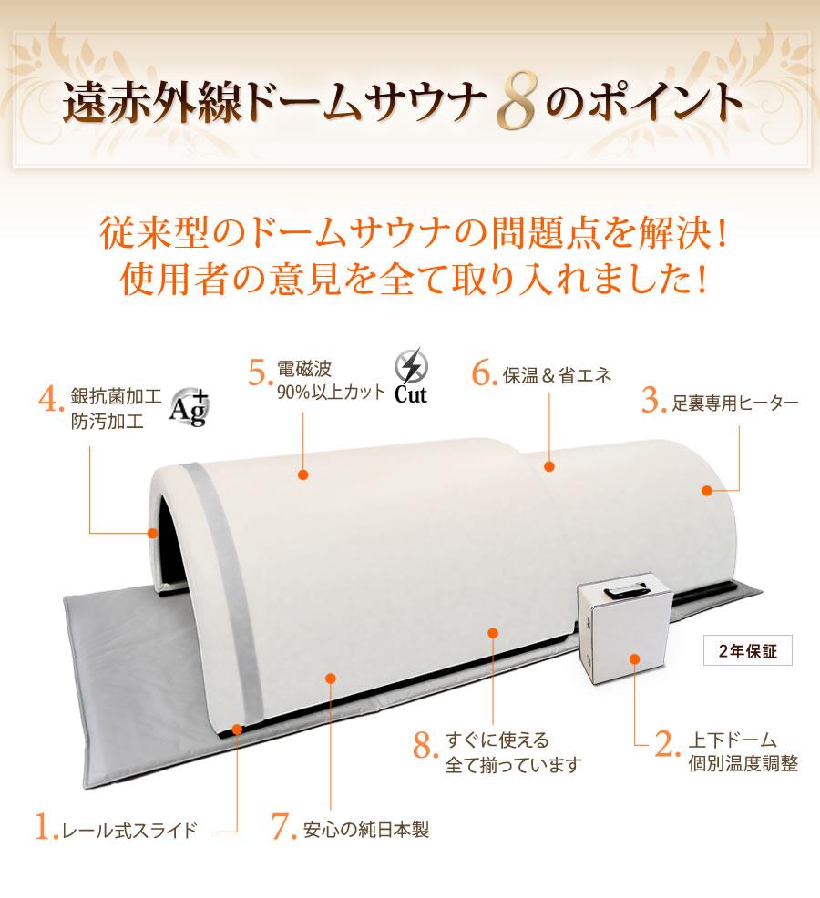 【日本製】遠赤外線ドームサウナ プロフェッショナル8つのポイント